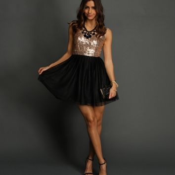 Black Sequin n Tulle Party Dress