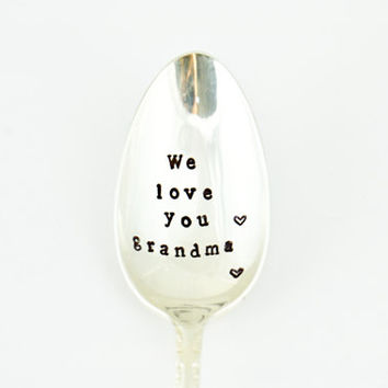 we love you grandma- vintage silver plated - Mothers day gift-gift for grandma-Christmas gift for grandma