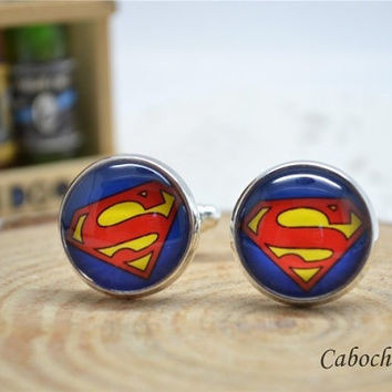 Steampunk Superman cuff links ,retro Superhero Glass Art Cufflinks,Cabochon Mens Accessories = 1945946372
