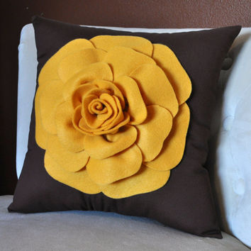 Throw Pillow Vintage Pillow Mustard Yellow Rose on by bedbuggs