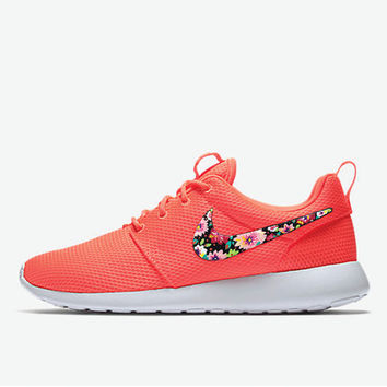 best cheap 545da 0543a Womens Custom Nike Roshe Floral Design, custom design, lava red with floral  design,