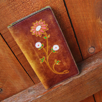 vintage hand tooled distressed leather checkbook cover. hippie floral tooled wallet. gift for her. distressed  iphone cover