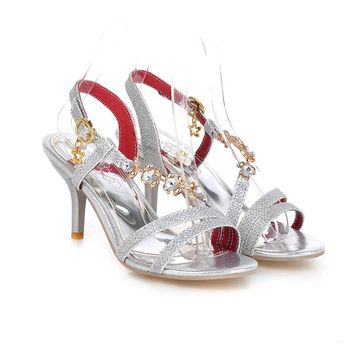 New Sexy Women Crystal Sandals Red Gold Silver Ladies High Heel Fashion Shoes Open Toe AY222-1 Plus Big Size 32 48