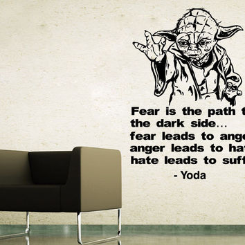 Wall Decals Yoda Quote Fear Is The Vinyl Sticker Star Wars Art Home Decor SM44