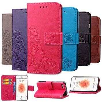 Vintage Stand Flip PU Leather Cover Case for APPLE iPhone SE 4 5 6 S 5C cell Phone cases Book Style For iPhone5 4S 5S 6s 7 plus