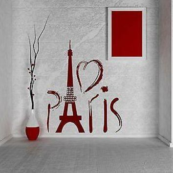 Wall Sticker Paris Eiffel Tower France Love Romantic Travel Europe Decor Unique Gift (z706)