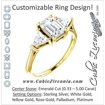 Cubic Zirconia Engagement Ring- The Prisma (Classic Three-Stone Triangle Accent and Emerald Cut center)