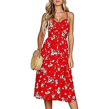 Halife Women's Summer Floral Print Strap Casual Button Midi Dress with Pockets