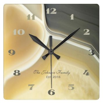 Gray Cream Agate Crystal Custom Housewarming Square Wall Clock