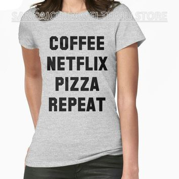 Coffee Netflix Pizza Repeat Printed T-Shirt - Women's Crew Neck T-Shirt Top Tees