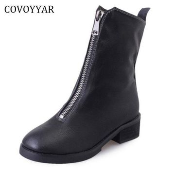 COVOYYAR British Front Zip Ankle Boots Women 2017 Fall Winter Fashion Low Thick Heel M