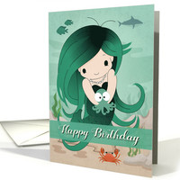 Cute Mermaid Holding a Baby Octopus for Happy Birthday card