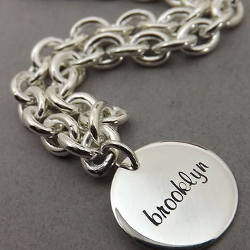 Tiffany and Co Inspired Necklace - Personalized Jewelry - Sterling Impressions Engraved Tiffany Inspired Charm Necklace