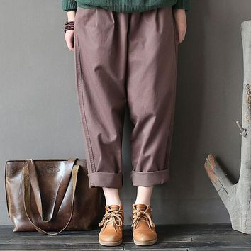 High Quality Pants 2017 Women Corduroy Pants Vintage Spring Autumn Casual Thicken Warm Elastic Waist Loose Cotton Pleated Trouse