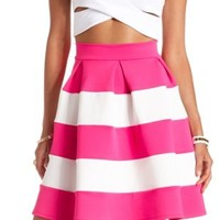Pleated & Striped Skater Skirt by Charlotte Russe - Bright Pink Combo