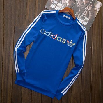 Adidas Multi-color Letter and Logo Print Long Sleeve Sweater(5-Color) Blue I-YSSA-Z