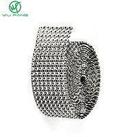 Wedding Decoration 1Yard Silver Diamond Mesh Christmas Hollow Imitation Crystal Ribbon Rhinestone Mesh Trimming base 8 rows