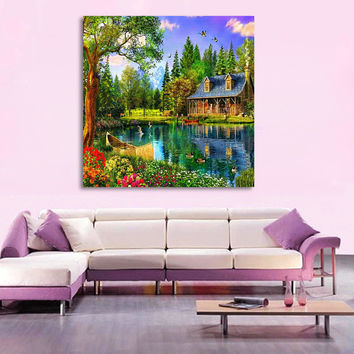 Lakeside Cabin Home Decor DIY Diamond Painting Full Diamond Embroidery Mosaic Pictures of Rhinestones Landscape Wall Art Decor