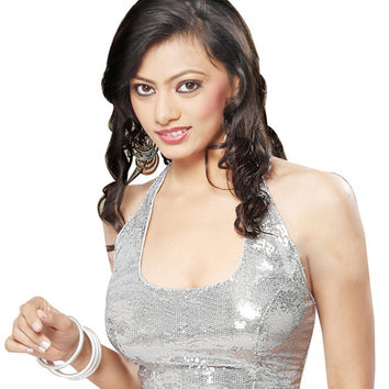 Silver Sequin Readymade Partywear Saree Blouse SNT-107-HT