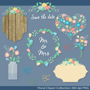 "Wedding clipart:""Rustic Wedding Floral Clipart"" mason jar floral arrangement, floral wreath, bouquet, heart"