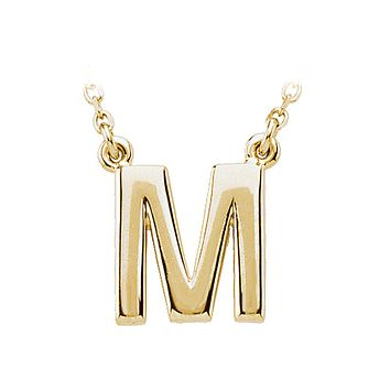 Block initial Necklace in 14k Yellow Gold, Letter M