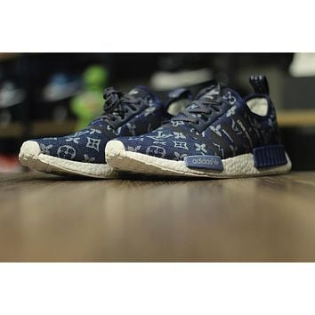 "LV x Adidas NMD R1 ""Navy"" Boost Men Running Sneaker"