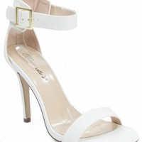 Breckelle Sydney-21 Vegan Pointy Toe Ankle Strap Kitten Heel Pumps WHITE