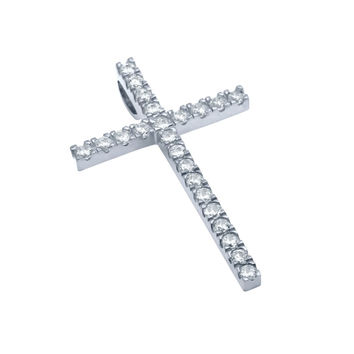 "Sterling Silver Pendant Small Rhodium Cross CZs Made in USA (Free 18"" Chain)"
