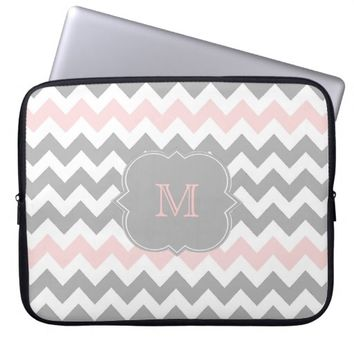 Gray Pink Chevron Monogram Laptop Sleeve