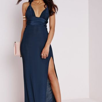 DO ME ANY WAY MULTIWAY SLINKY MAXI DRESS NAVY