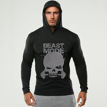 Men Clothes Skulls Design Long Sleeve Slim Fit Cotton T-Shirt with Hoodies Fitness Gyms Hooded T-Shirt Male