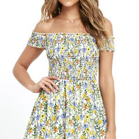 Anything Fleur You Ivory Floral Print Off-the-Shoulder Dress