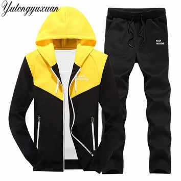 2017 Fashion Autumn Winter Men's Sportswear 2 Piece Set Sporting Suit Jacket+Pants Sweatsuit Men Clothing Tracksuit Set M-4XL