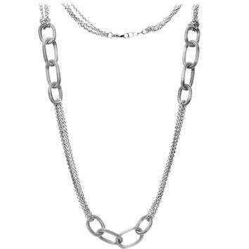Inox Jewelry Women's 316L Stainless Steel Multiple Chain Mesh Necklace