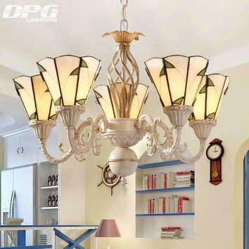 Modern Stained Glass Flush Mount Chandeliers Tiffanylamp vintage lamp lighting led ceiling with E27 110v 220v  for Home  lights