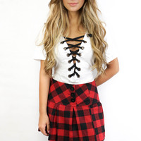 Fort Worth White Lace Up Top
