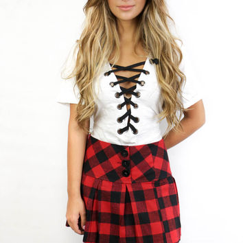 The Elms Red and black Plaid Skirt
