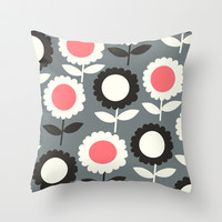 Bella Collection Floral on Grey Throw Pillow by Nathalie Robbins