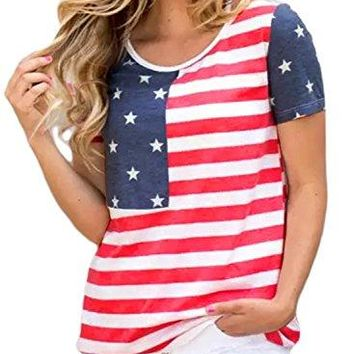 Asvivid Womens 4th of July American Flag Striped Short Sleeve Tee Shirt Tops