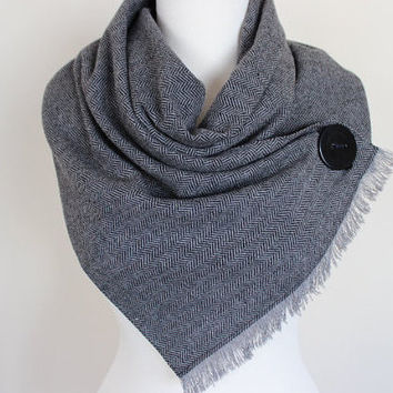 Herringbone Scarf, Herringbone Cowl Scarf, Wool Fabric Tweed Scarf with Button, Winter Fashion, Women's Fringe Scarves, For Him, Scarf Angel