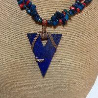 Turquoise necklace with a wire wrapped lapiz lazuli triangular pendant  turquoise and red coral