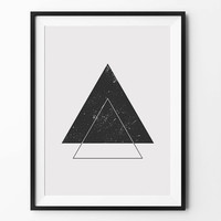Triangle geometric art, wall art prints, geometric print, black and white, wall decor, graphic, inspirational, scandinavian art