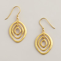 Sterling Silver Gold 3 Ring Oval Drop Earrings - World Market