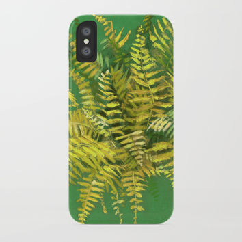 Golden Fern, floral art, green and yellow iPhone Case by Clipso-Callipso