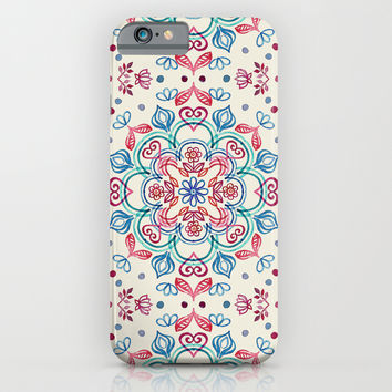 Pastel Blue, Pink & Red Watercolor Floral Pattern on Cream iPhone & iPod Case by Micklyn