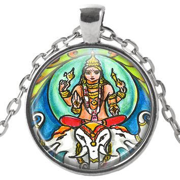 "Lord Indra Ruler of the Heavens 1"" Round Pendant & Chain"