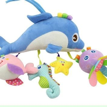 Infant Baby Toys Cute Cartoon Animal dolphin  Toys  Plush  Baby Rattles Mobile Stroller  Car Hanging Toys