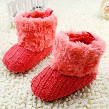 DCCKU7Q Baby Shoes Crochet Knit Fleece Boots