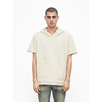 Reversed French Terry Pullover Raw-Cut Hoodie in Cream