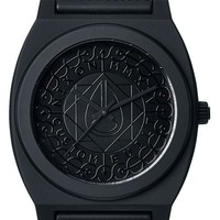 Nixon 'The Time Teller P' Textured Dial Print Strap Watch, 40mm - Black Shadow